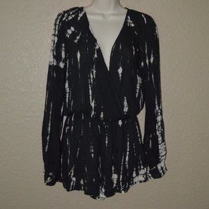 Sz S Blue Life Black Tie Dye Long Sleeve Romper